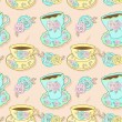 Vector seamless pattern with cups of tea or coffee — Stock Vector