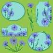 Set of elements with blue cornflowers  — Imagen vectorial
