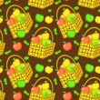 Royalty-Free Stock Vector Image: Vector seamless pattern with baskets of apples