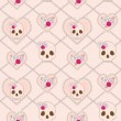 Vector seamless pattern with skull, heart and roses — Stock Vector #25905533
