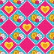 Royalty-Free Stock Imagen vectorial: Patchwork background with hearts and roses