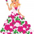 Blond girl with roses — Stock Vector #25907167