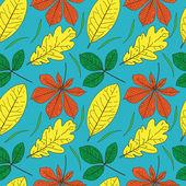 Vektör renkli yaprakları ile seamless modeli — Stok Vektör