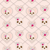 Vector seamless pattern with skull, heart and roses — Stock Vector