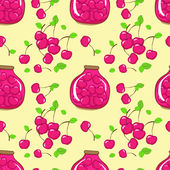 Vector seamless pattern with cherry and jam — Stock Vector