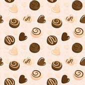 Seamless vector pattern with chocolate — Stock Vector