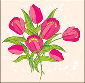 Pink tulips on pastel background — Stock Vector