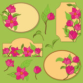 Vector set of elements with flowers — Stock Vector