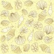 Vector seamless pattern with shells — 图库矢量图片