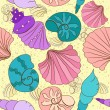 Vector seamless pattern with colored shells — Stock Vector