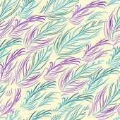 Vector seamless pattern with colored feathers — Stock Vector