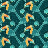 Vector seamless pattern with toucan — Stock Vector