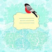 Vector winter background with bullfinch bird — Stock Vector