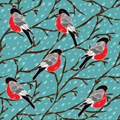 Vector seamless pattern with bullfinch bird — Stock Vector