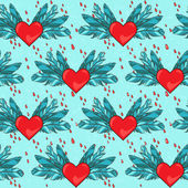 Vector seamless pattern with heart and blood — Stok Vektör