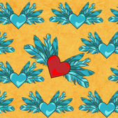 Vector seamless pattern with flying hearts — Vettoriale Stock