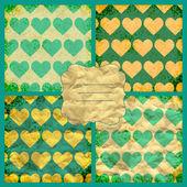 Set of valentine's vector seamless pattern — Stock Vector