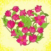 Vector floral heart with magnolia — Vettoriale Stock