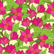Vector seamless pattern with magnolia — Stock Vector