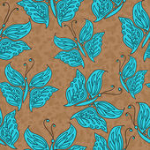 矢量无缝模式与蓝色的蝴蝶 — 图库矢量图片