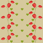 Valentine vector seamless pattern with tulips — Stock Vector