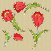 Vector stickers with red tulips — Stock Vector