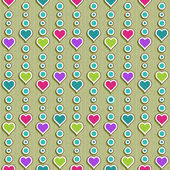 Vector seamless pattern with colored hearts — Stock Vector