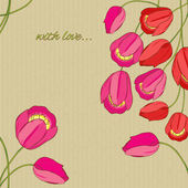 Vector background with red and pink tulips — Vector de stock