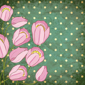 Vector retro background with pink tulips — 图库矢量图片