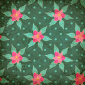 Vector retro seamless pattern with flowers — Vettoriale Stock