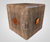 Stone cube — Stock Photo