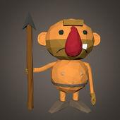 Caveman character low poly — Stock Photo