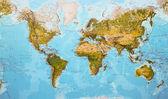 Dünya harita fiziksel — Stok fotoğraf