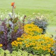Colourful flower beds and grass in a formal garden — Foto Stock