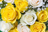 Bouquet of yellow and white roses — Stock Photo