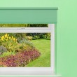 View of flower garden and grass from window — Stock Photo