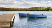 Small boats tied to a wooden jetty — Stockfoto
