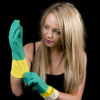 Blonde girl with gloves — Stock Photo #25434445