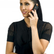 Woman with black mobile phone — Stock Photo #25435203
