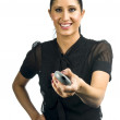 Woman with remote control — Stock Photo