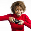 Stock Photo: Womwith game controller