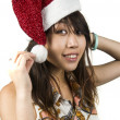 Asian girl with Santa hat — Stock Photo