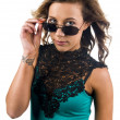Blonde girl with sunglasses — Stock Photo