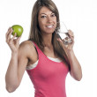 Stock Photo: Woman with apple and water