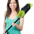 Stock Photo: Asiwomwith broom