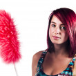 Girl with duster — Stock Photo #26788131