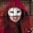 Red Riding Hood with mask — Stock Photo