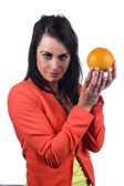 Promoting an orange — Stock Photo