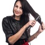 Get my hair straightened — Stock Photo