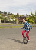 Happy unicyclist — Stock Photo